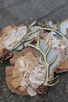 Rustic Country Antler Boutonniere Lace & Leather Wedding Boutonniere by dustyLuck on Etsy