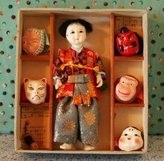 Vintage Japanese Doll / Boy Mask-Dance Ningyo Doll c 1960s