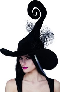 Sombrero Halloween bruja negra plumas mujer
