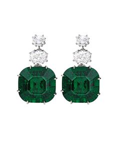 Get a sneak peek at the historic treasures up for auction at Sotheby's Magnificent Jewels sale on December 9th. Pictured: Magnificent Pair of Platinum, Emerald and Diamond Earrings