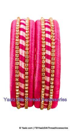 Yaalz Silk Thread Simple Pair Bangles In Pink Colors Silk Thread Earrings Designs, Silk Thread Bangles Design, Silk Thread Necklace, Silk Bangles, Bridal Bangles, Thread Jewellery, Bangle Set, Jewelry Patterns, Designer Earrings