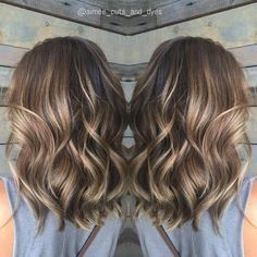 Ash Brown Balayage Wavy Hair
