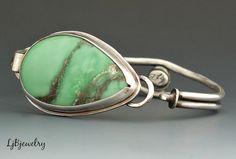 Silver Bracelet Silver Cuff Variscite Bracelet by LjBjewelry