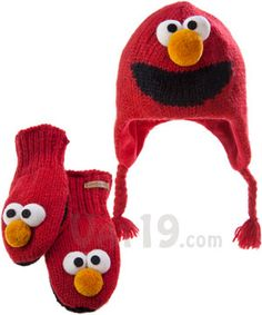 Sesame Street Knit Wits: Hats and Mittens that look like Sesame Street Monsters they have oscar too!