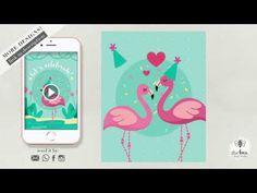 Flamingo Video Invitation Etsy Cards, Flamingo Birthday, Custom Design, Invitations, Make It Yourself, Youtube, Blog, Ticket Invitation, Bespoke Design
