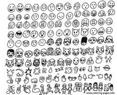Print emoji emoticon list coloring pages
