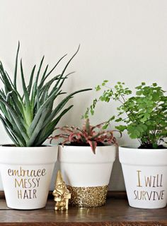 40 Brilliantly Gold DIY Projects - Gold DIY Projects and Crafts – Gold Foil Lettering On Flower Pots – Easy Room Decor, Wall Art a -