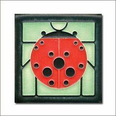 Charley Harper Ladybug with Border Mint Motawi Tile #charleyharper
