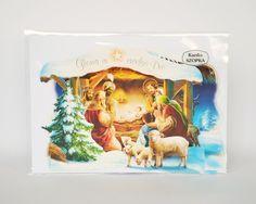 Karnet szopka Boże Narodzenie z życzeniamiKarnety są pakowane po 25 szt, podana cena obejmuje paczkę zawierającą 25 szt. karnetów. W paczce znajdują się różne wzory. Zdjęcia są przykładem różnych...