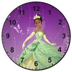 Tiana Clock by SilhouettesbyMarie on DeviantArt Clock Face Printable, Clock Clipart, Clock Template, Handmade Clocks, Princess Tiana, Telling Time, Projects To Try, 1, Clock Faces