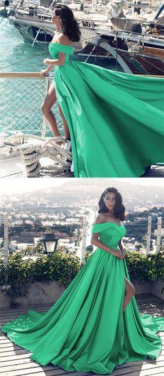 off shoulder evening gowns,forest green dress,green prom dress,slit dress,satin gowns,prom dresses 2018