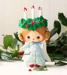 Angelo natalizio in feltro e pannolenci/ Candle angel. Christmas. PDF pattern. Felt doll.