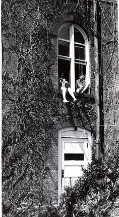 Study Break, Vassar College, 1950. I think this might have been my freshman year window!