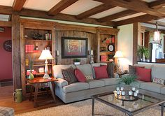 Timber Frame Homes - Homestead Timber Frames - Handcrafted Timber Frames - Timber Frame Living Room