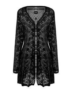 Meaneor Womens Sexy Lace Crochet Sheer Long Sleeve Open Front Cardigan Coat Style1 Black XXL -- For more information, visit image link.