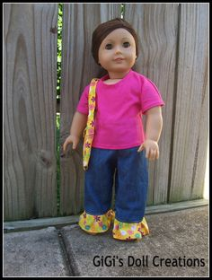 Denim outfit for 18 inch American Girl doll by GiGisDollCreations, $15.99