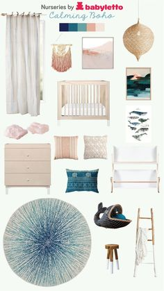 I really like this superb boho nursery Beach Theme Nursery, Coastal Nursery, Nursery Nook, Ocean Nursery, Mermaid Nursery, Girl Nursery Themes, Boho Nursery, Nursery Neutral, Calming Nursery