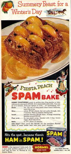 "Fiesta Peach Spam Bake recipe from ""Better Living"" magazine | FEBRUARY 1954 | #vintage #1950s #recipe"