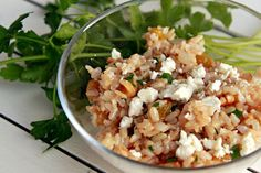 Brown Rice with golden raisins, toasted walnuts, and feta