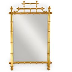 Gold Leaf Horner Bamboo Mirror ($935) ❤ liked on Polyvore featuring home, home decor, mirrors, bamboo home decor, gold leaf mirror, antique mirror, antique home decor and antique gold leaf mirror