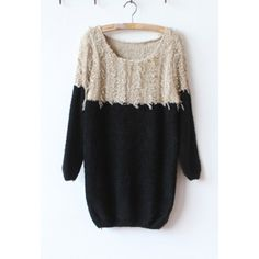 Casual Style Color Splicing Loose-Fitting Long Sleeves Knitting Women's Sweaters  $17.10