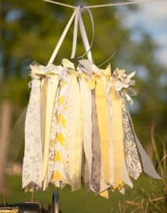 Yellow & Gray Chandelier, Baby Mobile, Photography Prop, Wedding Decor, Faux Chandielier. $55.00, via Etsy.