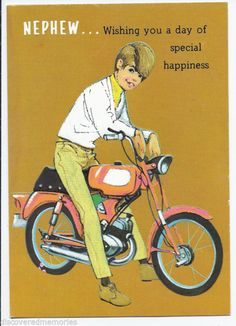 1093 Vntage 1960s UNUSED Young Man On Red Motor Bike Nephew Happy Birthday Card