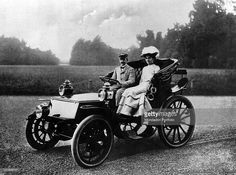 King Victor Emmanuel III of Savoy and Helen of Montenegro posing in a car in an avenue of the garden of Villa Ada. Rome, 1904