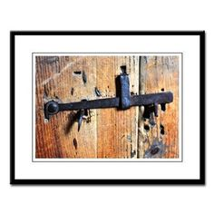"Antique Door Latch Large Framed Print.  This 1800's antique door latch was photographed in an old farmhouse. The wrought iron latch stands in contrast against old wood showing rich textures, colors, shape and line.  Visit the ""Art Gallery"" section of SplashiongHoney.com for more."