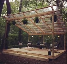 Design Patio, Backyard Patio Designs, Pergola Designs, Backyard Landscaping, Backyard Pavilion, Deck Patio, Wooded Backyard Landscape, Wood Patio, Diy Deck