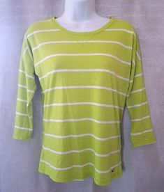 622686be5 Details about Hollister Women's 3/4 Dolman Sleeve Light Green Striped T Shirt  Size XS