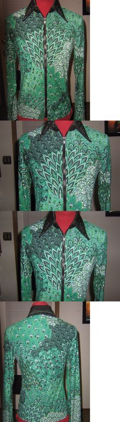 Other Rider Clothing 3167: Womens S M Green Feather Western Horsemanship Rail Horse Show Shirt Pleasure -> BUY IT NOW ONLY: $135 on eBay!