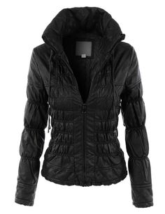 LE3NO Womens Fully Lined Faux Leather Long Sleeve Cinched Biker Jacket