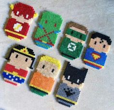 Superheroes Hama Beads. These did look cool: would need more beads if I wanted to make something similar again