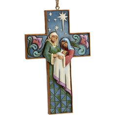 Jim Shore Cross-Shaped Holy Family Hanging Ornament ($18) ❤ liked on Polyvore featuring home, home decor, holiday decorations, multi, jim shore, cross home decor, heart home decor, cross ornaments and folk art