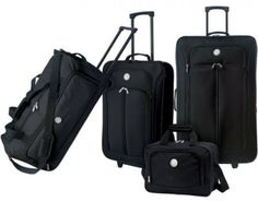 4 Piece Luggage Set Black Rolling Travel Collection Suitcase w Carry Bag New #LuggageClub