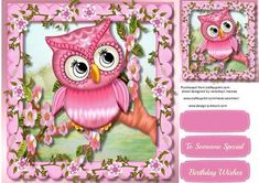 Lovely pink owl in a Blossom tree  on Craftsuprint - Add To Basket!