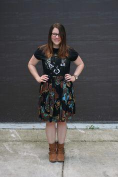 band tee & anthro skirt ::