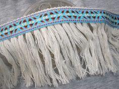 """Boho Tribal Ribbon Fringe trim 3.5"""" wide cotton blend fringe Aqua blue green red white pattern ribbon retro yards yardage crafts costume by kabooco on Etsy"""