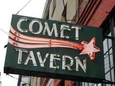 Merriment :: Seattle Comet Tavern Neon Sign by Kathy Beymer Thus far, my favorite bar in Seattle - and it's only about two blocks from my house. Roadside Attractions, Roadside Signs, Neon Moon, Vintage Neon Signs, Beach Trip, Beach Travel, Old Signs, Emerald City, Advertising Signs