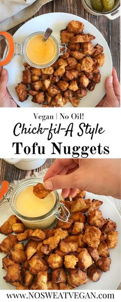 If you've been searching for an easy and delicious vegan Chick-fil-A style nugget recipe, then you're in luck. These nuggets combine agave sweetness and briny pickle juice for a unique yet familiar flavor. Plus everything is oil-free! Perfect for dipping in a vegan honey mustard dipping sauce.#tofunuggets #vegantofunuggets #veganchickfila #veganchickennuggets #vegannuggets #easyvegandinners #veganrecipes #quickveganrecipes #tofurecipes #veganrecipesforkids #copycatrecipes Vegan Dinner Recipes, Veggie Recipes, Whole Food Recipes, Cooking Recipes, Healthy Recipes, Delicious Vegan Recipes, Beef Recipes, Juicer Recipes, Salad Recipes