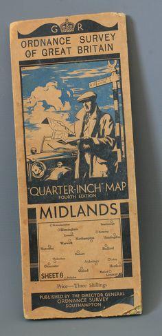 Vintage Ordnance Survey Map 1930s motoring