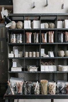 Metal lockers used as shelving. Home of Hygge