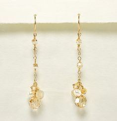 Champagne Crystal and Freshwater Pearl Long Cascade Earrings - Bridal Earrings - Beth Devine Designs