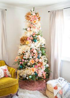 Bohemian Christmas, Classy Christmas, Christmas Time, Whimsical Christmas, Colorful Christmas Tree, Xmas, Beautiful Christmas, Hawaiian Christmas Tree, Mickey Mouse Christmas Tree