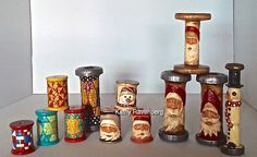 KATHY RAVENBERG, Artist.  More original hand carved and painted spools and bobbins.