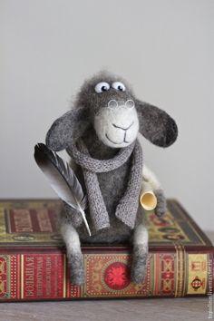 Купить Барашек Нахапет - серый, барашек, барашка, валяная игрушка, овечка игрушка, овечка в подарок