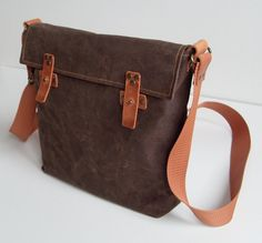 Waxed canvas Messenger Bag/Schoulder Bag/ I pad bag by MilaMoss, $45.00