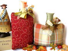 Two Fall Fabric Pumpkins