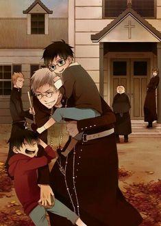 Rin, Yukio, Shiro, laughing, family, exorcists, young, childhood; Blue Exorcist